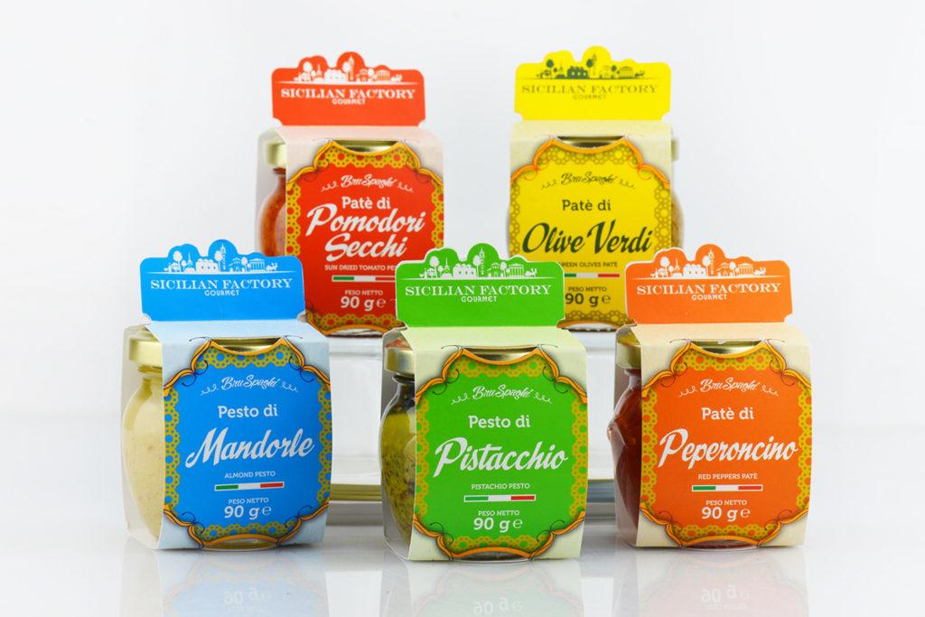 fasce per vasetti pesto, scatole personalizzate pesto sicilia, scatole personalizzate marmellate sicilia, scatole personalizzate creme sicilia