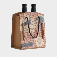 scatola cartone greenbag 2 bottiglie birra frontale