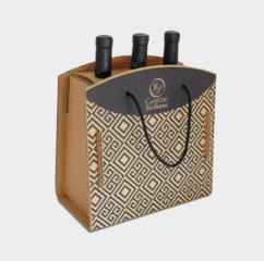 scatola cartone greenbag 3 bottiglie vino