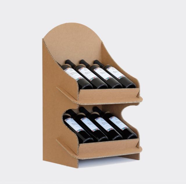 espositore da banco cartone 8 bottiglie