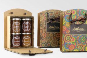 scatola in cartone avano con manico per 4 vasetti di marmellata