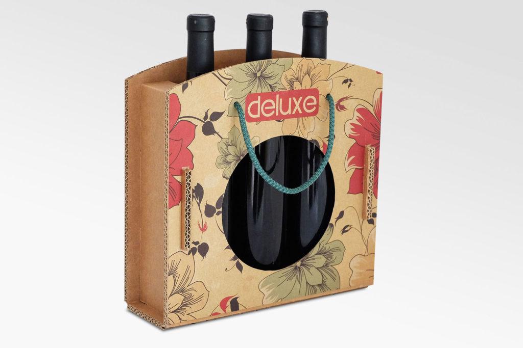 scatola con manici per 3 bottiglie stile borsa