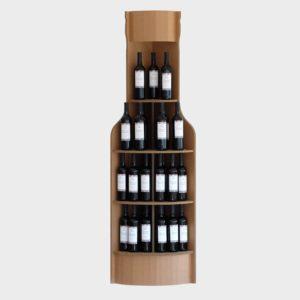 espositore angolare da vino a forma di bottiglia