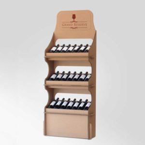 espositore vino in cartone 3 mensole